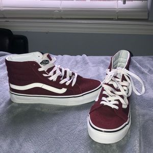 never worn maroon high top vans